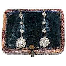 Fine Edwardian Diamond Daisy Cluster Dangle Earrings Circa 1910