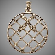 Antique Victorian Diamond Lattice Pendant Circa 1880