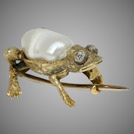 Fabulous Edwardian Frog Brooch Pin Circa 1900