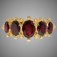 Spectacular Georgian Garnet Five Stone Half Hoop Ring Circa 1820-1840