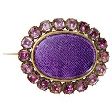 Georgian Foiled Amethyst Brooch Pin Circa 1800