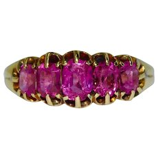 Stunning Burmese No Heat Natural Pink Sapphire Five Stone Half Hoop Stacking Ring Circa 1870-1880