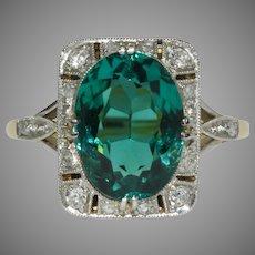 Stunning Edwardian Blue Green Tourmaline And Diamond Ring Circa 1910.