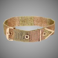 Imperial Russian 14 Carat Rose and Green Gold Woven Bracelet Moscow 1908-1917