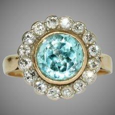 Antique Diamond And Blue Zircon Cluster Ring Circa 1915