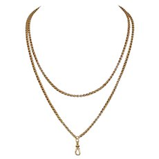 Fancy Link Victorian 9 Carat Gold Long Chain Circa 1870