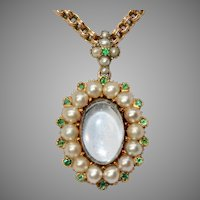 Late Georgian 15 Carat Natural Pearl And Emerald Keepsake Locket Circa 1840