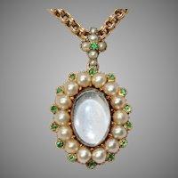 Late Georgian Natural Pearl And Emerald Keepsake Locket 15 Carat Gold Circa 1840
