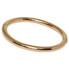 Austro-Hungarian Rose Gold Bangle Bracelet Dated Vienna 1892