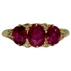 Certified Natural No Heat Burmese Ruby And Diamond Engagement Ring Circa 1890