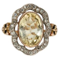 Victorian Citrine And Diamond Cluster Ring Circa 1890