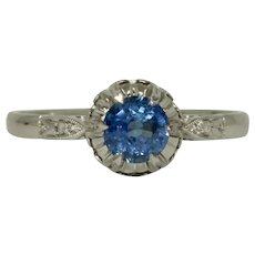 Art Deco Platinum Sapphire And Diamond Engagement Solitaire Ring Circa 1920