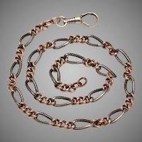 Victorian Niello Silver Chain Necklace Circa 1880-1900