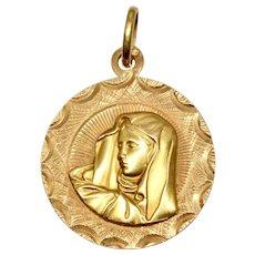 Vintage Italian Saint Mary Madonna Pendant/Medallion Circa 1950-60