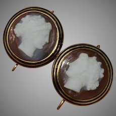 French Hardstone Cameo Earrings Circa 1860-1880