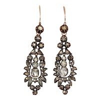 Antique Rose Cut Diamond Day And Night Long Dangle Earrings Circa 1800