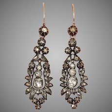Antique Rose Diamond Day And Night Long Dangle Earrings Circa 1800