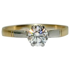 Edwardian Old Cut Diamond Solitaire Engagement Ring Circa 1915