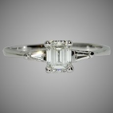 Certified Solitaire Diamond Engagement Ring 0.57 Carat Circa 1960
