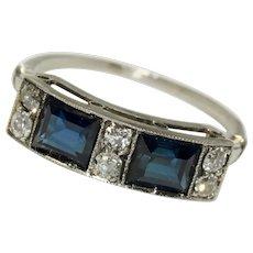 Edwardian Sapphire And Diamond Platinum Ring Circa 1915