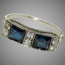 Edwardian Sapphire And Diamond Platinum Ring Circa 1915