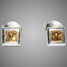 Yellow Square Diamond Stud Earrings In Platinum And 18 Carat Gold