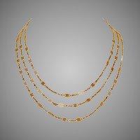Art Nouveau French 18 Carat Gold Long Chain Circa 1900