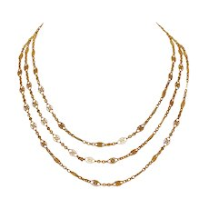 Art Nouveau French 18 Carat Gold Long Chain Circa 1900