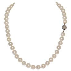 Fine Cultured Saltwater 9-9.4 mm Pearl Necklace 18.5 Inches With Diamond Clasp