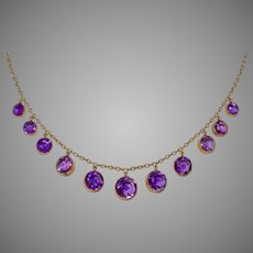 Victorian Natural Amethyst Fringe Necklace Circa 1890-1900