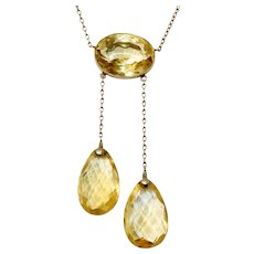 Edwardian Citrine Silver Drop Negligee Necklace Circa 1910