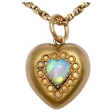 Victorian Opal Heart Charm Pendant Dated Birmingham 1899