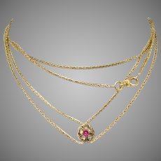 Victorian Long Snake Link Chain With No Heat Burma Ruby Slide Circa 1870-1880