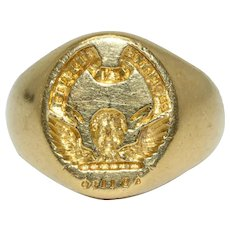 "Scottish Clan Carruthers ""Promptus Et Fidelis"" Signet Ring 18 Carat Gold Dated 1978"