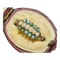 Georgian Turquoise And Natural Pearl Half Hoop Ring Circa 1800-1820