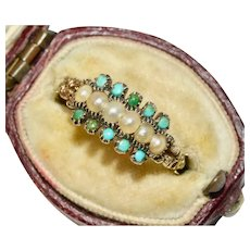 Georgian Turquoise And Natural Pearl Half Hoop Ring Circa 1800-1820