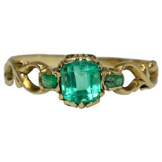 Georgian Certified Natural Colombian Emerald Trilogy Ring Circa 1840 18 Carat Gold
