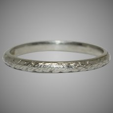 Art Deco Platinum Chased Wedding Band Circa 1920