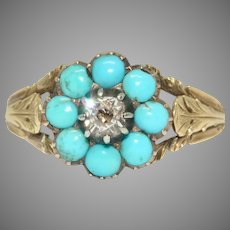 Georgian Turquoise And Mazarin Cut Diamond Ring Circa 1830