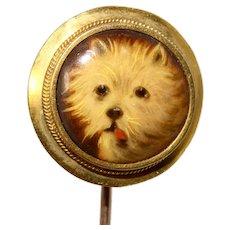 Victorian Painting on Porcelain Dog Stickpin/Tie Pin Circa 1890