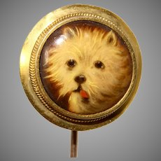Victorian Painting on Porcelain Dog Stickpin/Tie Pin Circa 1890