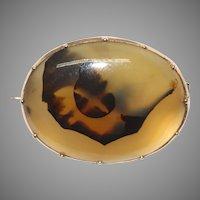 Georgian Agate Brooch Pin Circa 1800 9 Carat Gold