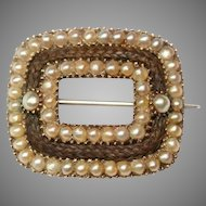 Georgian Natural Pearl And Hair Mourning Brooch Pin Circa 1810-1820