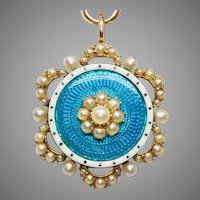 Victorian Guilloche Enamel And Natural Pearl Pendant Brooch Pin Circa 1890