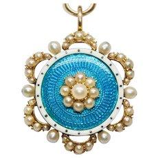 Victorian Guilloche Enamel And Natural Pearl Pendant Brooch Pin Circa 1890