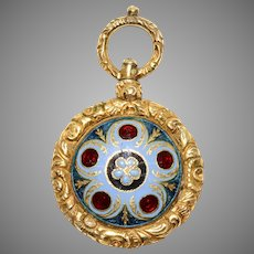 Georgian Forget-Me-Not Keepsake Enamel Locket Fob Pendant Circa 1820