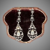 Edwardian Paste And Silver Long Dangle Earrings Circa 1910