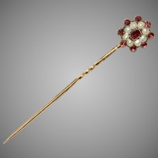 Georgian Garnet And Split Pearl Stickpin Tie Pin Circa 1820
