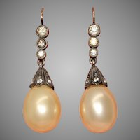 Art Deco 1920's Silver And Gold Paste And Faux Pearl Earrings