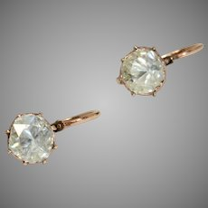 Antique French Dormeuse Rose Cut Diamond Earrings Circa 1850